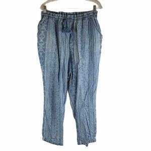 Vintage America Blue Printed Casual Pants